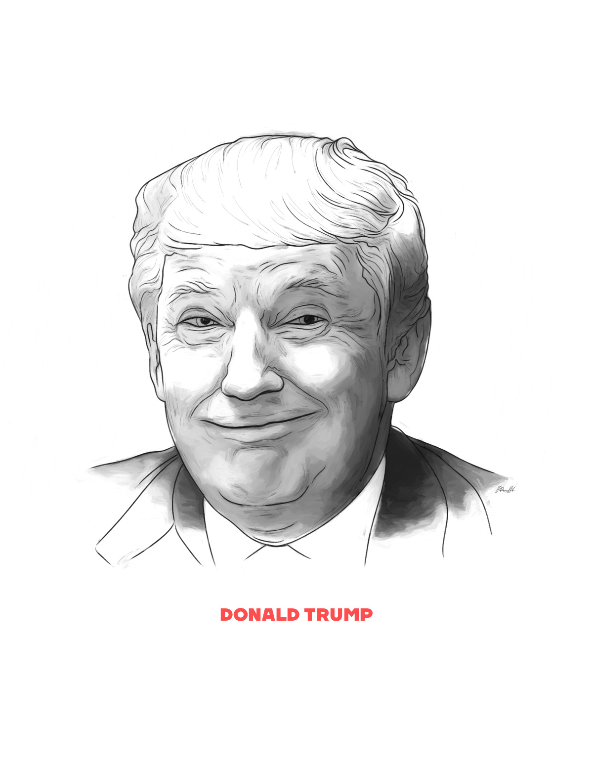 Donald Trump portrait from People of 2016 series, by Max Hancock