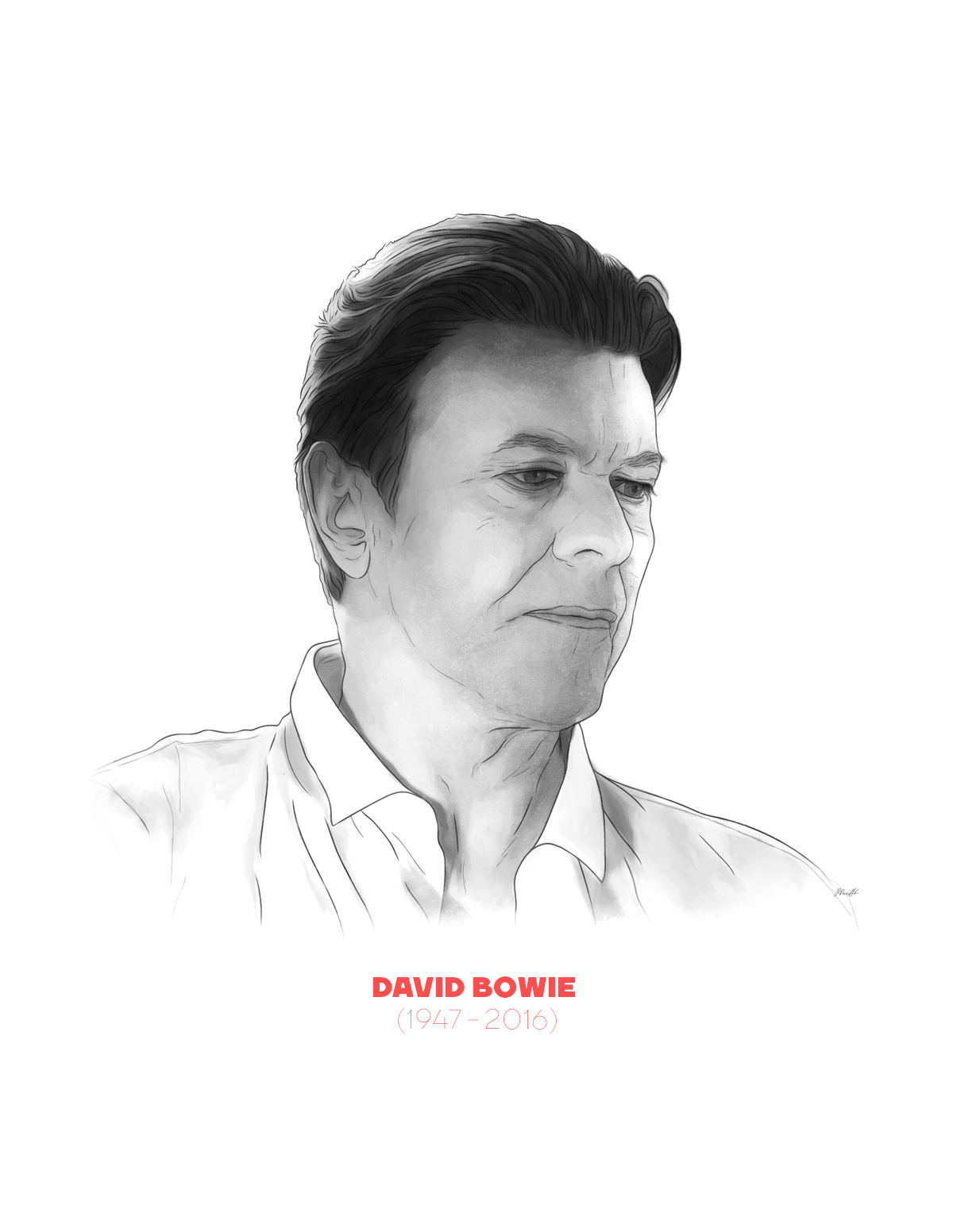 David Bowie portrait from People of 2016 series, by Max Hancock