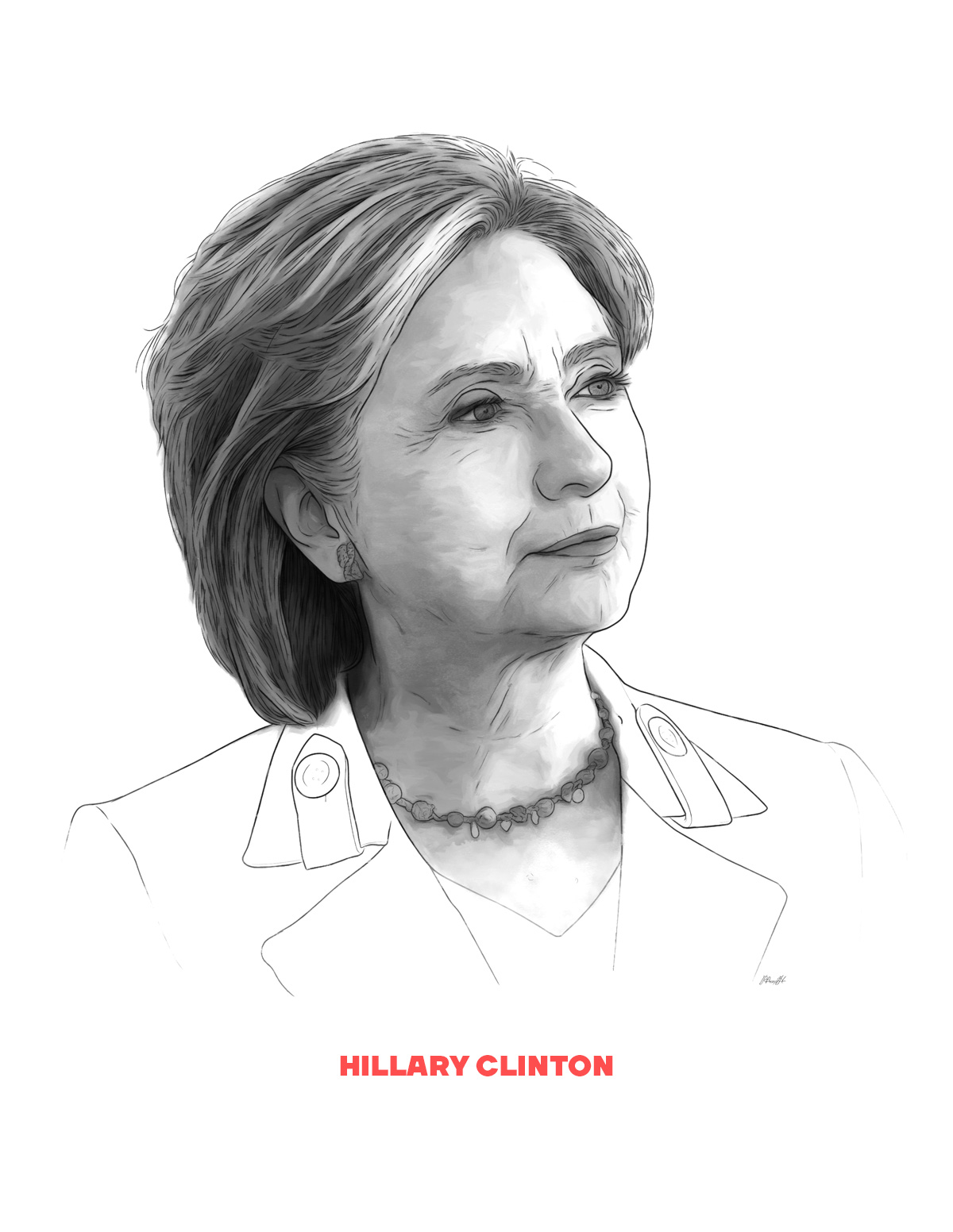 Hillary Clinton portrait from People of 2016 series, by Max Hancock