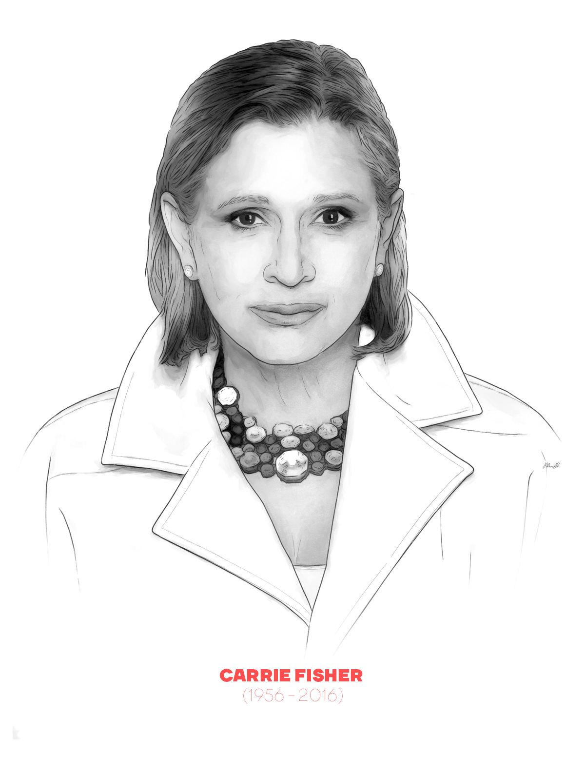 Carrie Fisher portrait from People of 2016 series, by Max Hancock