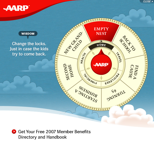 AARP Wheel of life rich-media banner advertisement, by Max Hancock