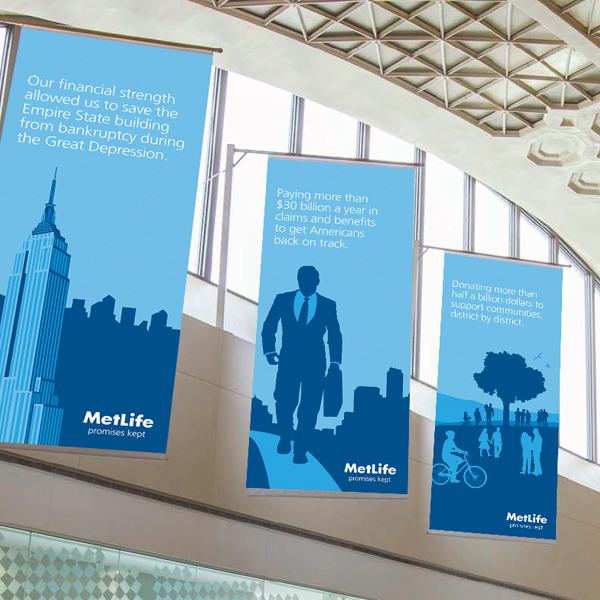MetLife Metro corridore hanging banners ads, by Max Hancock