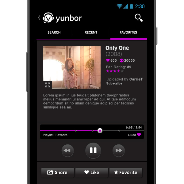 Yunbor music app, mobile video player detail, by Max Hancock