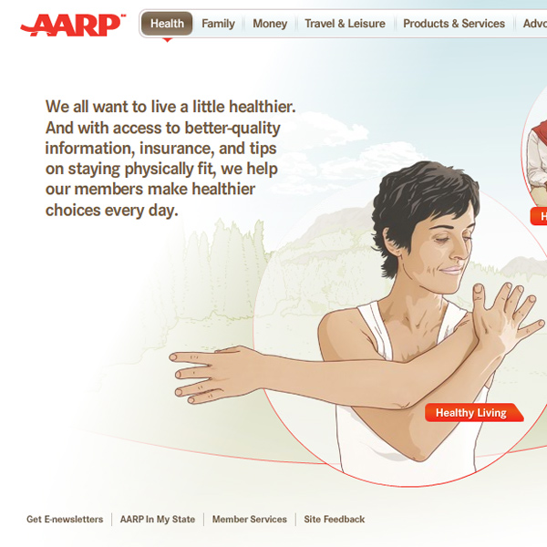 AARP Welcome microsite, rich-media website detail, by Max Hancock