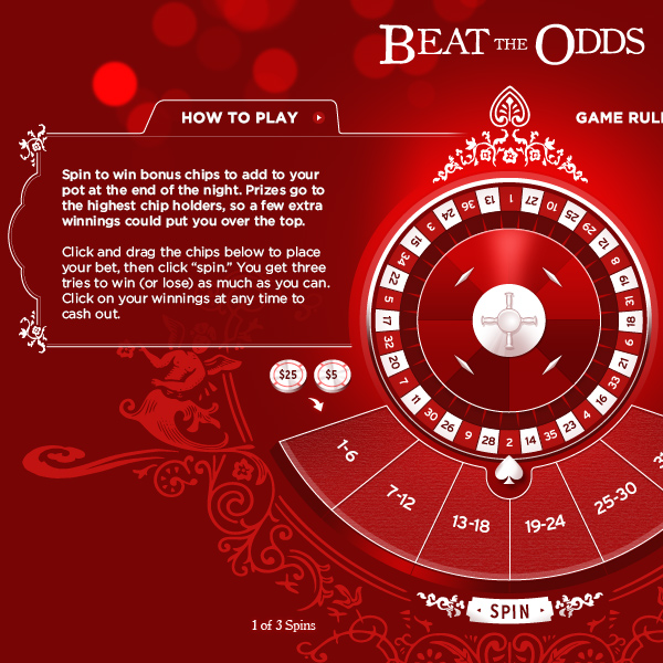 Beat the Odds game detail, roulette wheel, charity casino note, by Max Hancock
