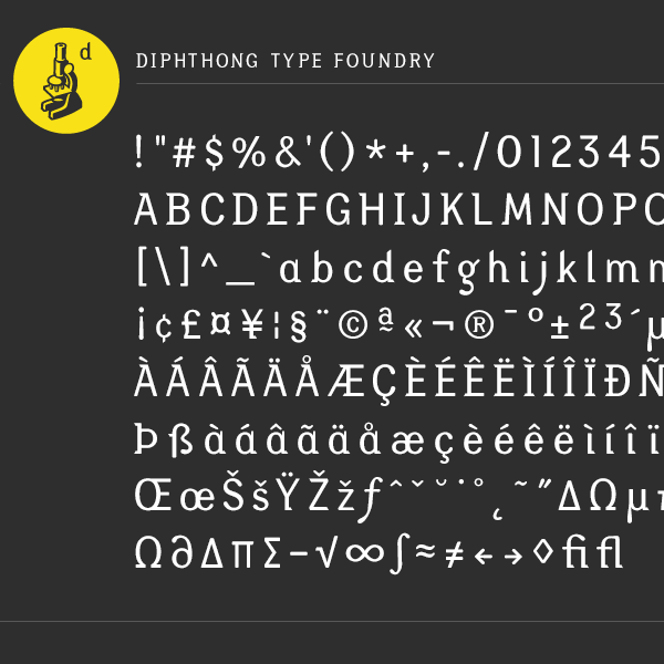 Diphthong font sample, by Max Hancock