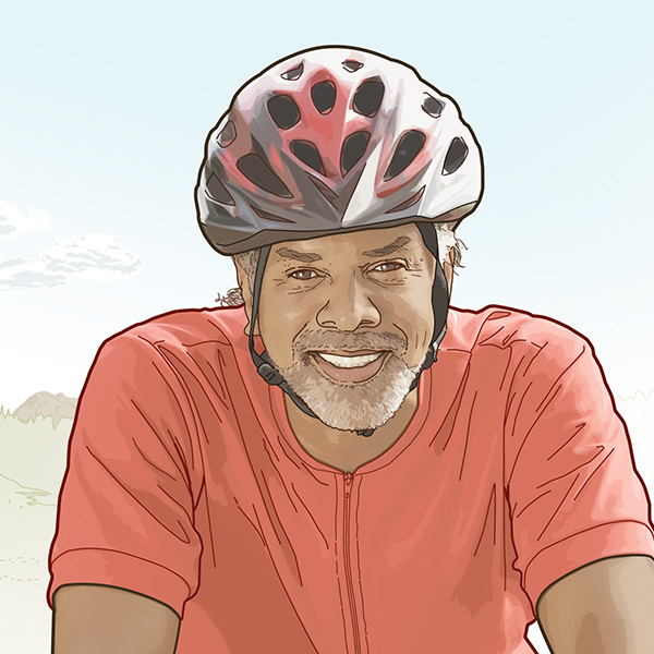 AARP membership illustration African American man, cyclist, by Max Hancock