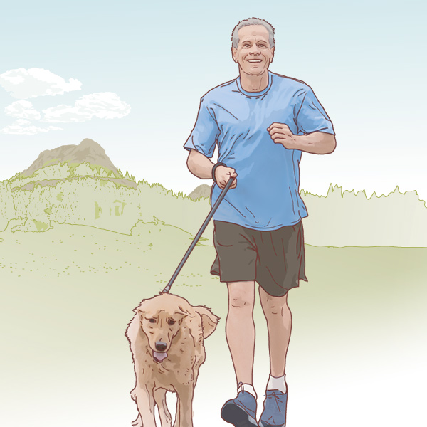 AARP Illustration of man running with dog, by Max Hancock