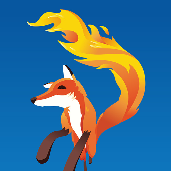 Firefox illustration fox running in perspective, by Max Hancock