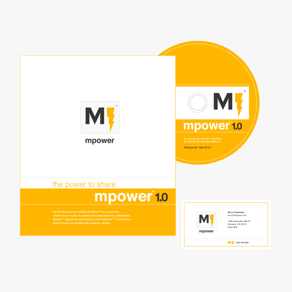 Mpower logo, business card, product box, cd print, by Max Hancock
