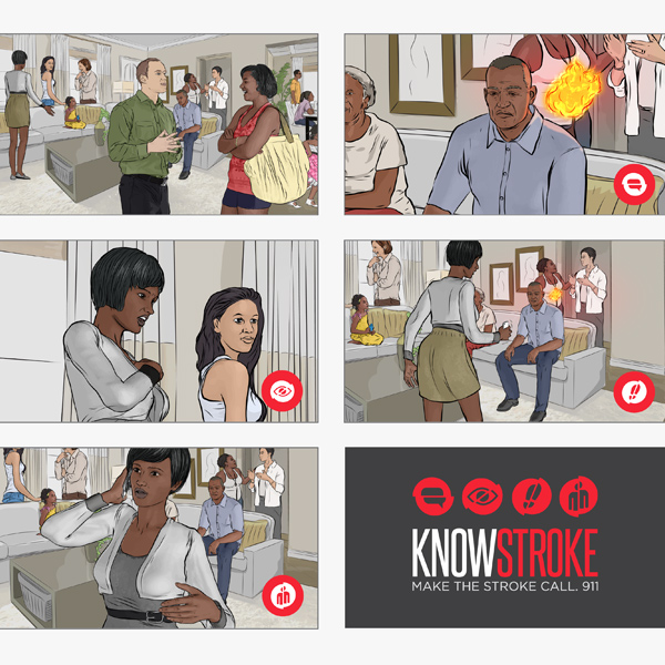 Know Stroke commercial storyboard, by Max Hancock