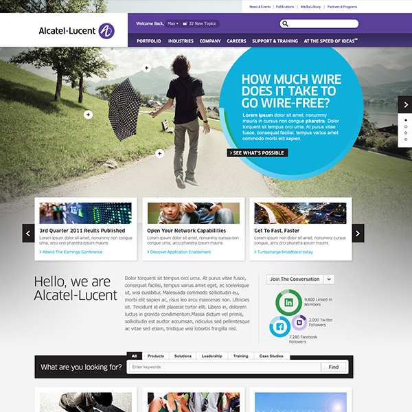 Alcatel Lucent homepage, by Max Hancock