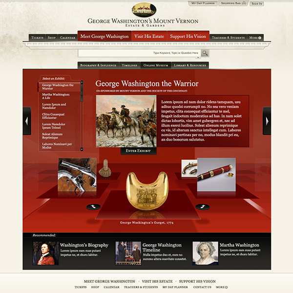 George Washington's Mount Vernon virtual online museum, by Max Hancock