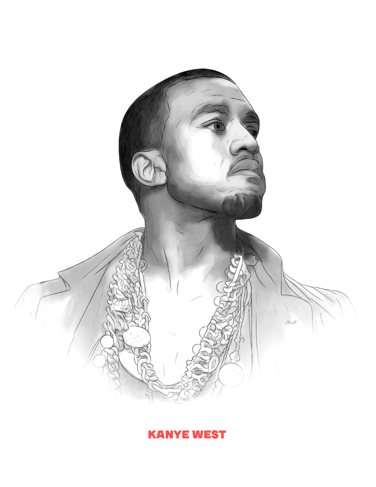 Kanye West portrait from People of 2016 series, by Max Hancock