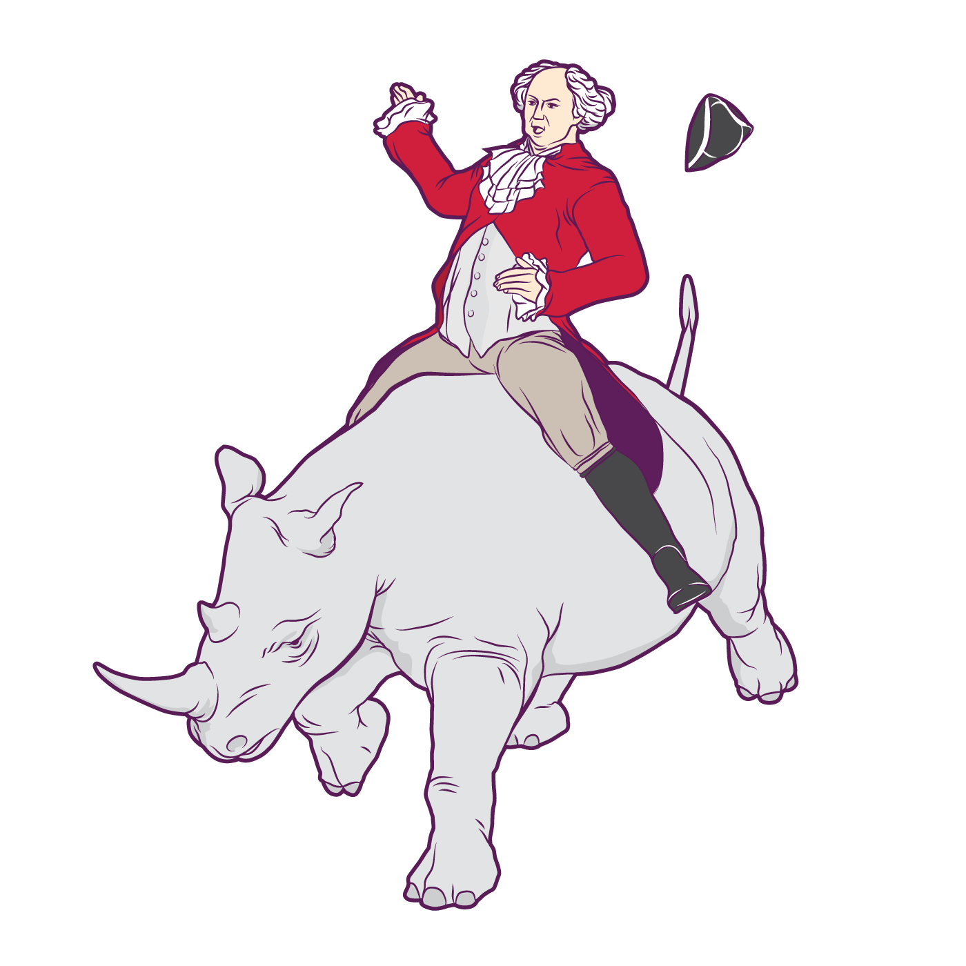 Virgin Mobile, Infographic by Max Hancock, John Adams riding a Rhino.
