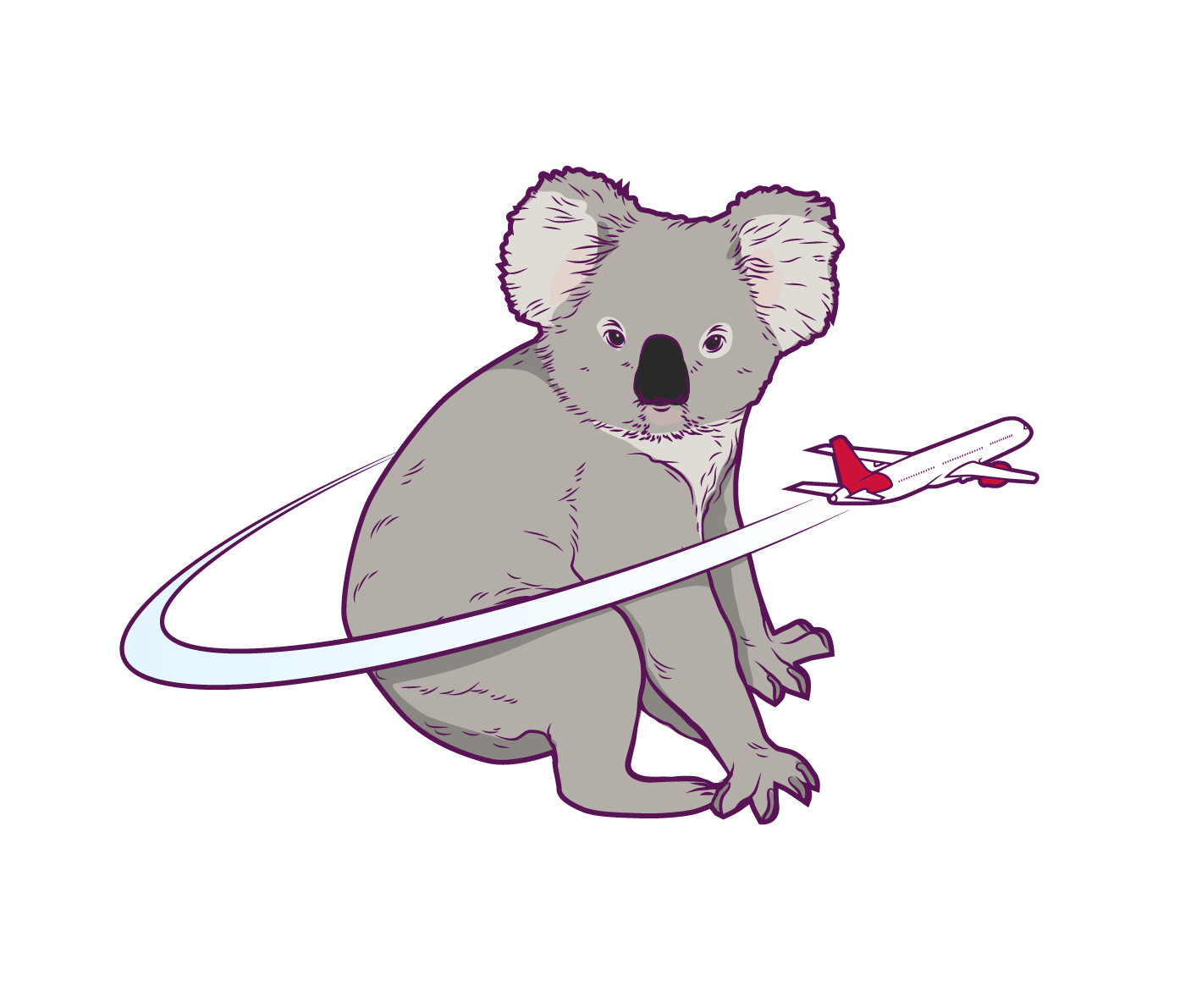 Virgin Infographic detail, with Koala and airplane