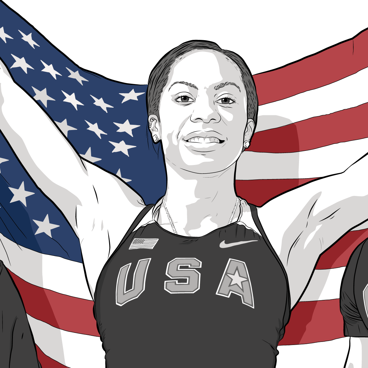 Athlete Portrait of Sanya Richards-Ross, Illustration by Max Hancock