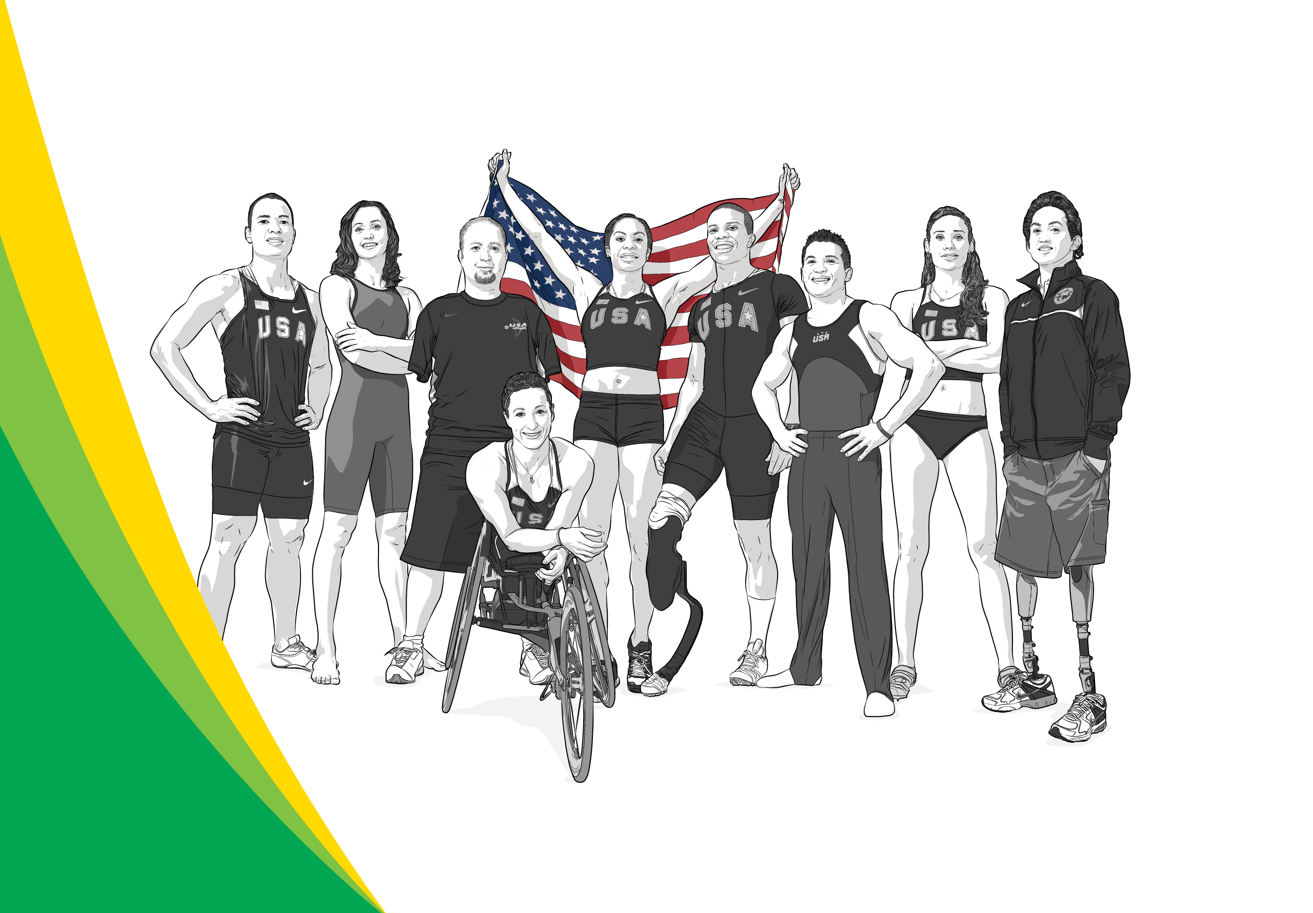 BP's Team USA Athletes pose, illustration by Max Hancock