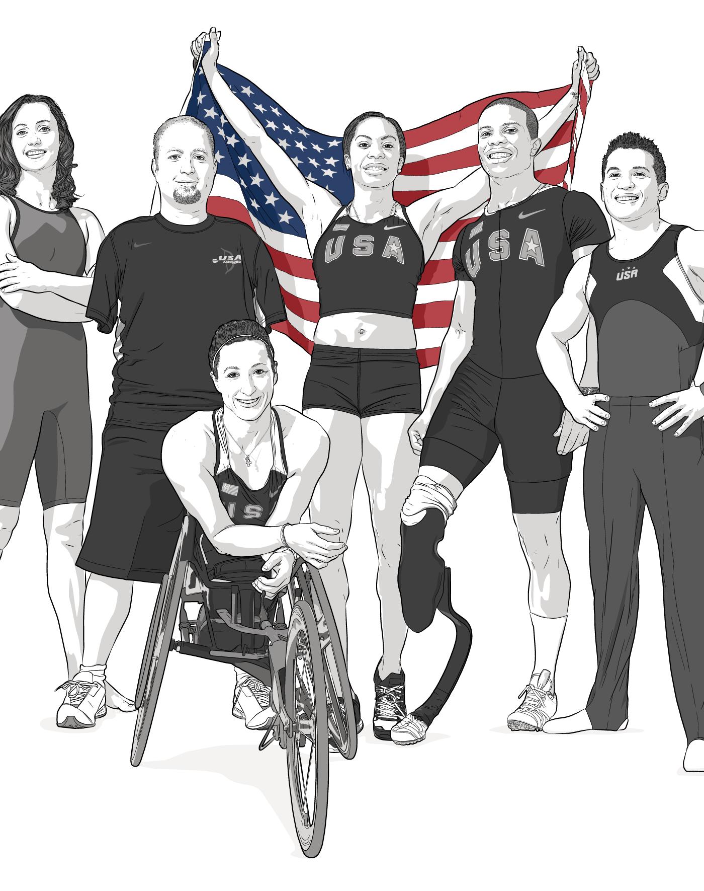 BP's Team USA Athletes pose, illustration by Max Hancock
