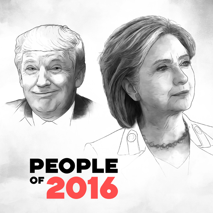 People of 2016 feature, illustration by Max Hancock