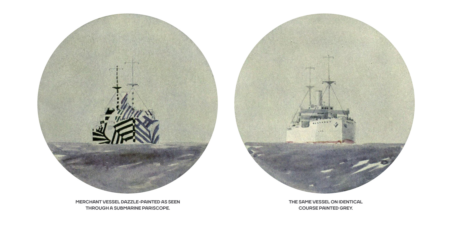 Fig. 8 - Dazzle-painted ships seen through pariscope