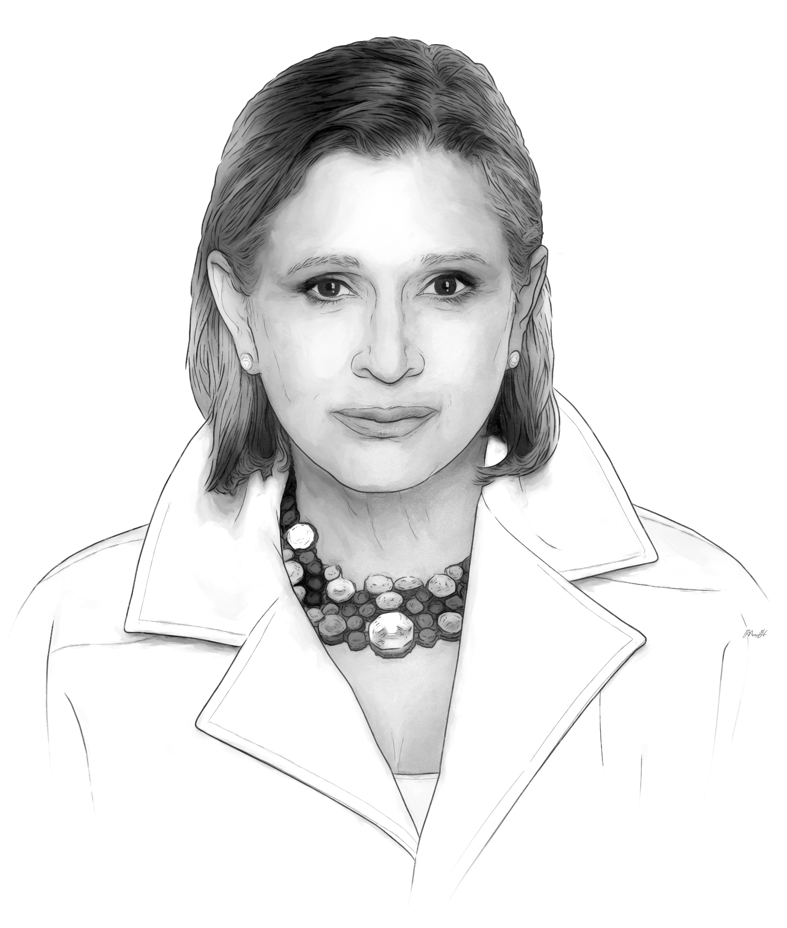 Carrie Fisher portrait by Max Hancock