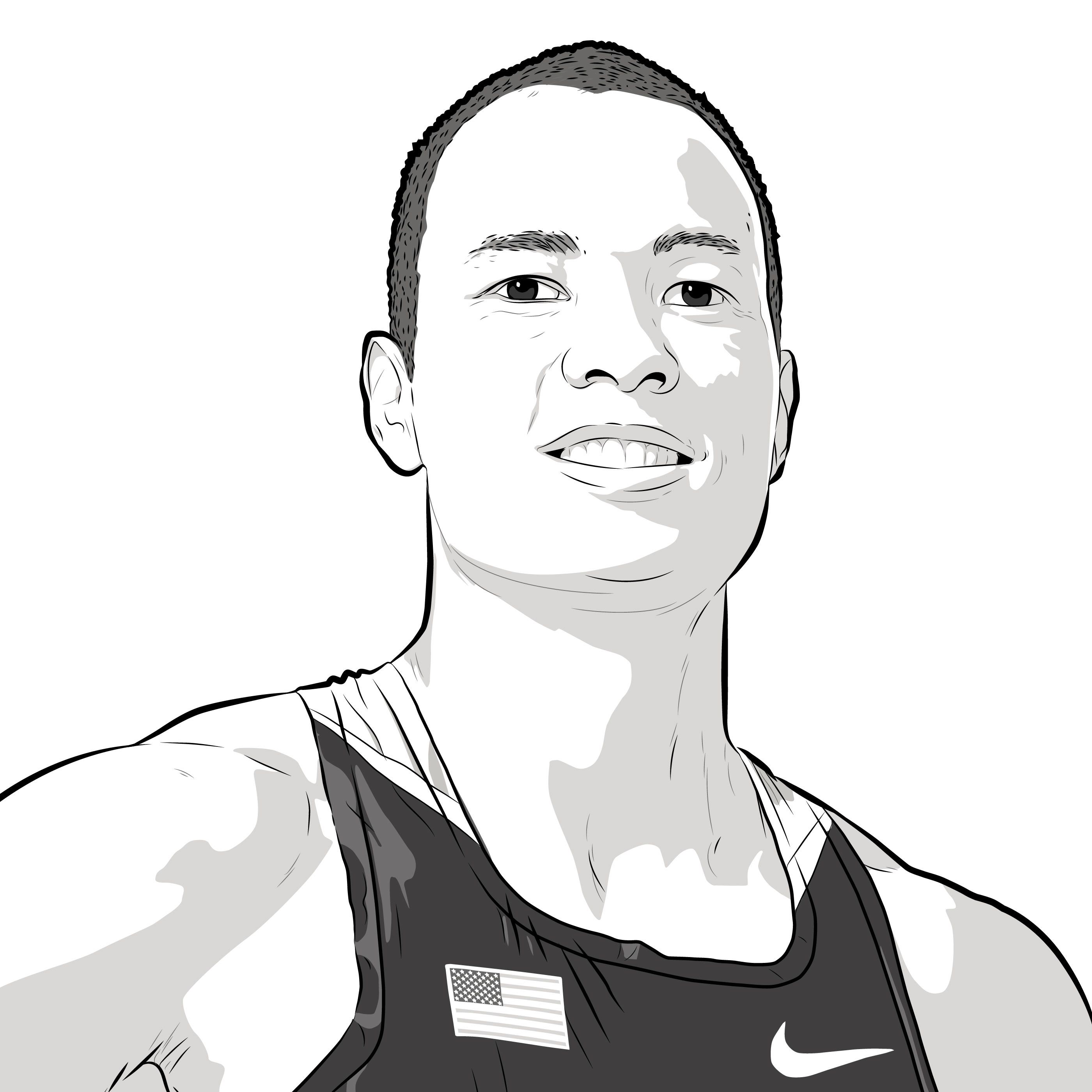 Athlete Portrait of Bryan Clay, illustration by Max Hancock