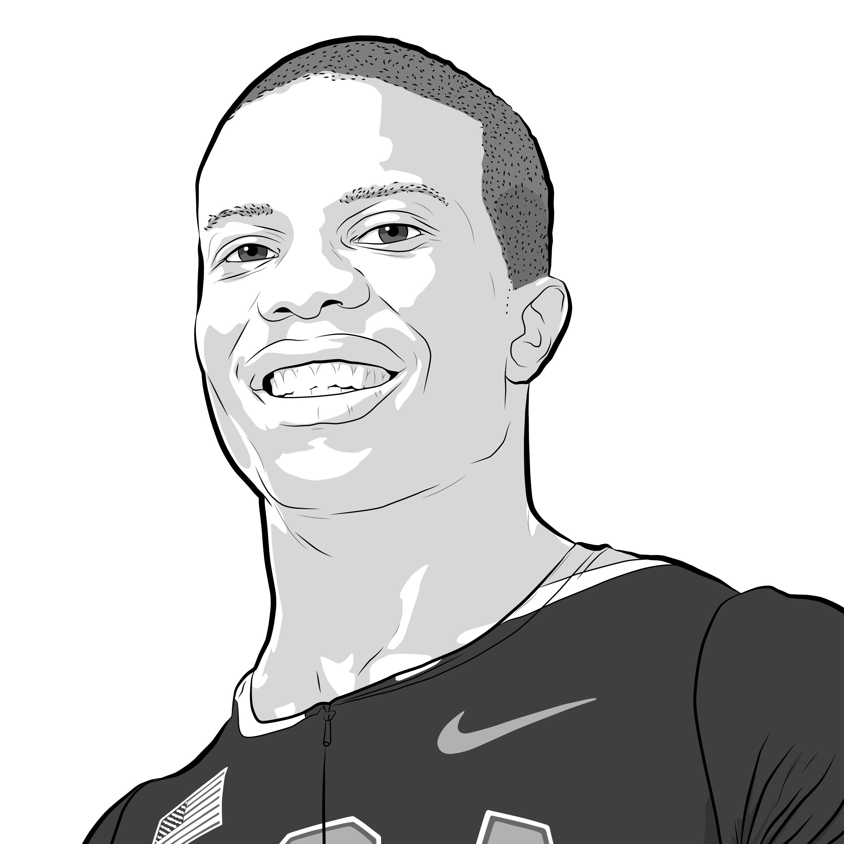 Athlete Portrait of Jerome Singleton Jr, Illustration by Max Hancock