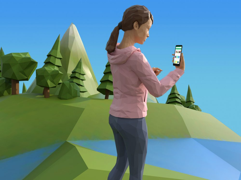 Google Play Cover, woman with phone