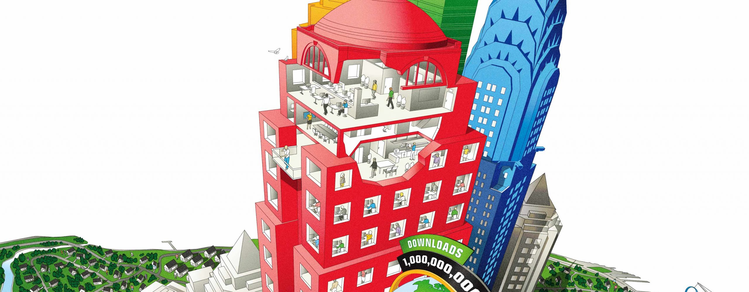 Google Earth infographic cover, buildings, cutaway