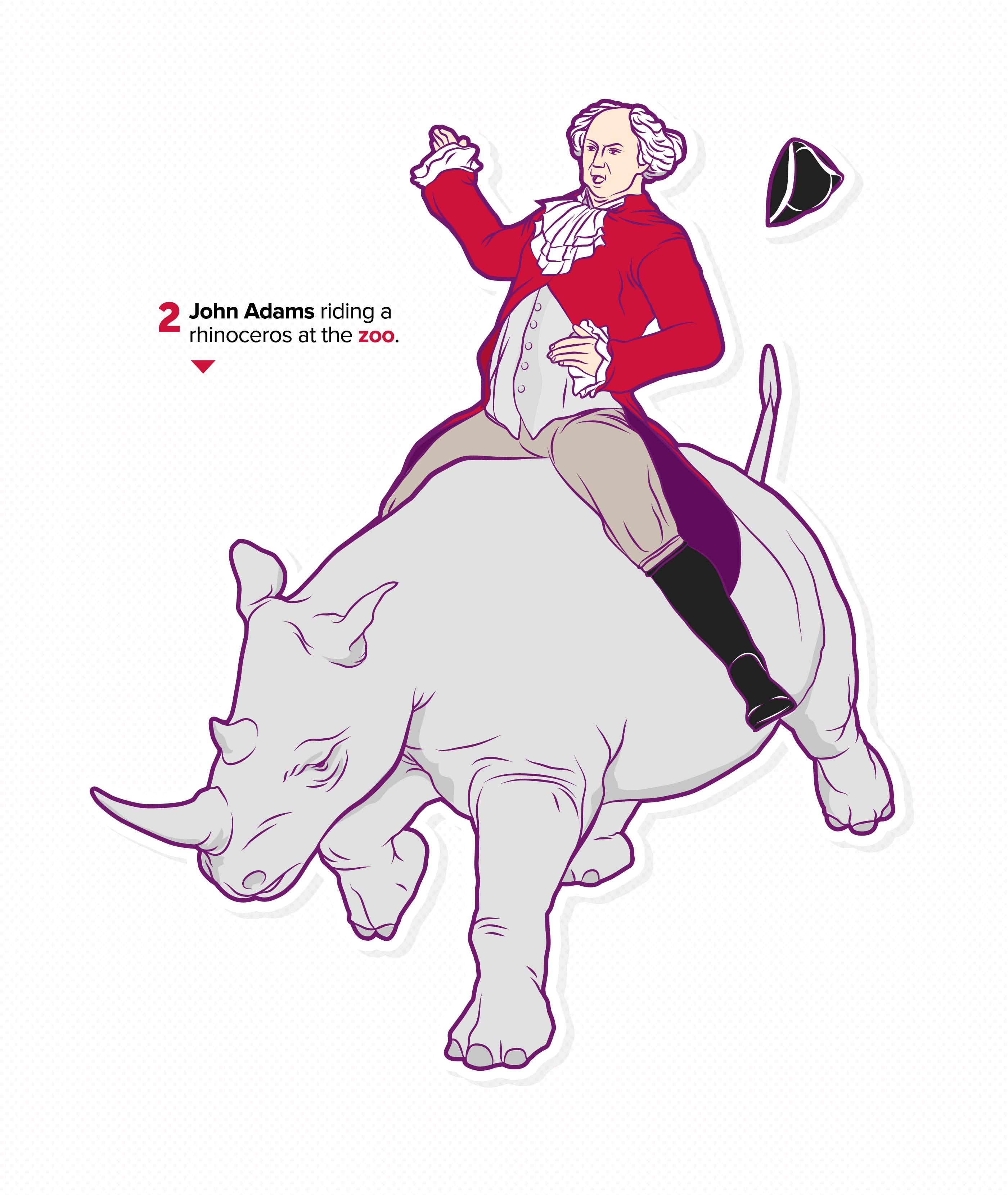 Virgin Mobile, Infographic Detail, John Adams riding a rhinoceros