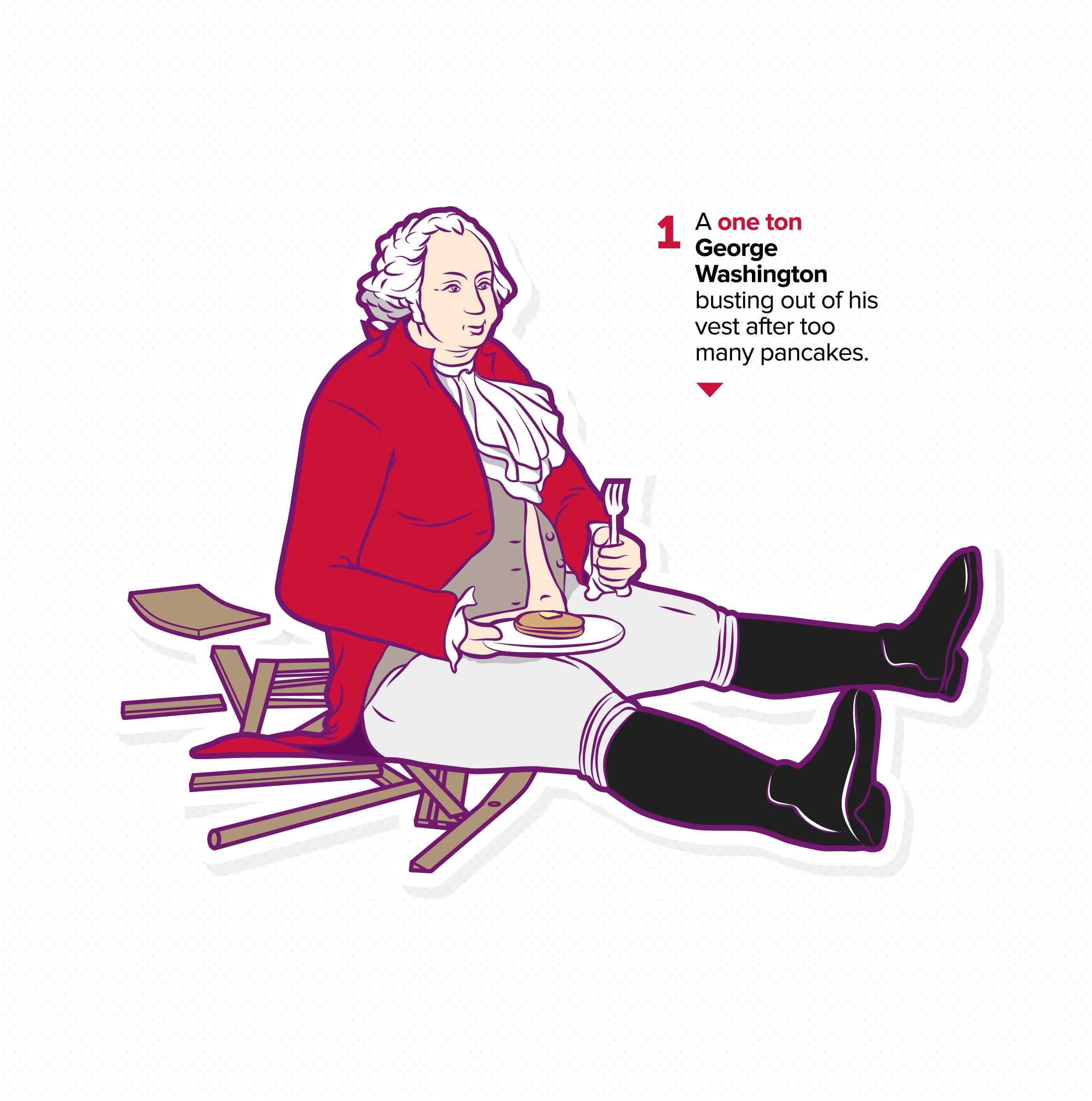 Virgin Mobile, Infographic Detail, George Washington eating pancakes