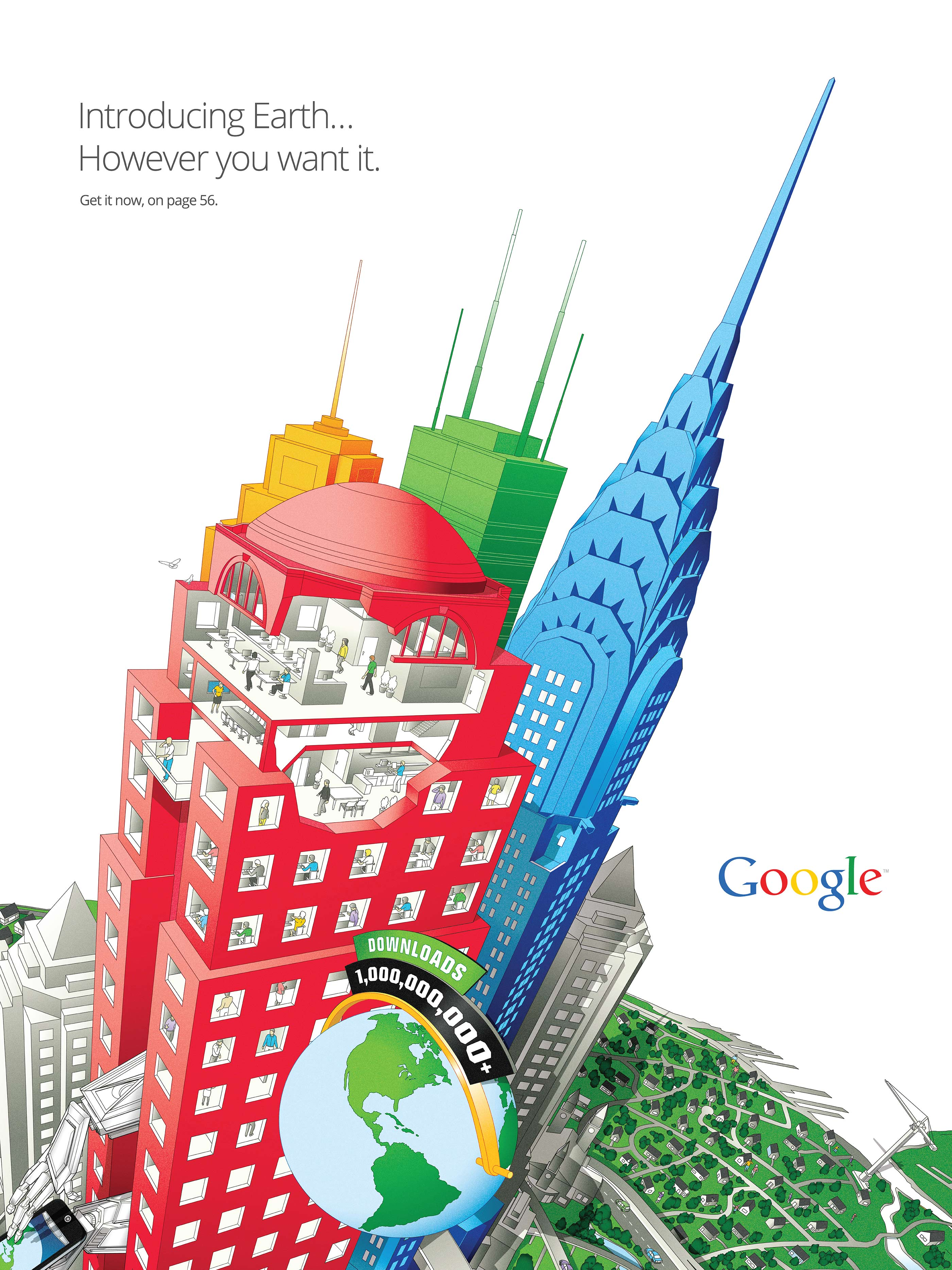 Google Earth, interior ad, introducing the infographic